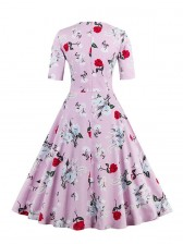 1950's Vintage Pink Short Sleeves Casual Cocktail Party Dress