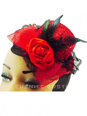 Red Glitter Burlesque Top Hat Fascinator