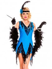 Blue Seductive Flapper Costume with Sequin