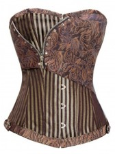 Jacquard Stripe Corset With Zip Detail