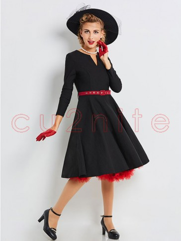 Women's Retro Vintage Black Round Neck Long Sleeve Swing Cocktail Dress with Belt