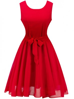 Elegant Red Sleeveless Chiffon Cocktail Party Valentine's Day Dress