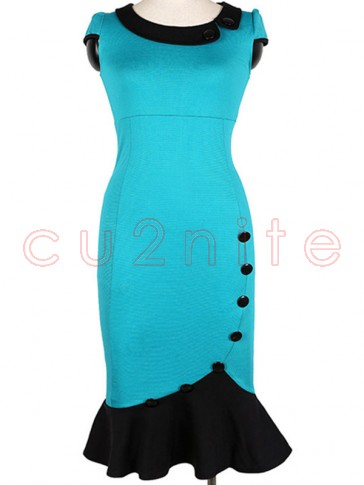 Vintage Scoop Neck Contrast Bridesmaid Cocktail Formal Bodycon Wiggle Dress Sky Blue