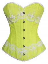 Green Brocade Fabric Corset