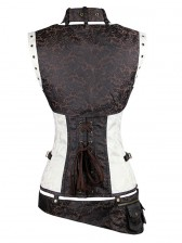 Steel Boned Steampunk Gothic Vintage Overbust Corset with belt