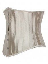 Champagne Satin Under Bust Corset - 24 Steel Bones