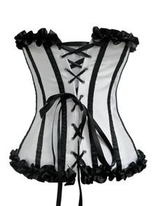 White Satin Butterfly Corset