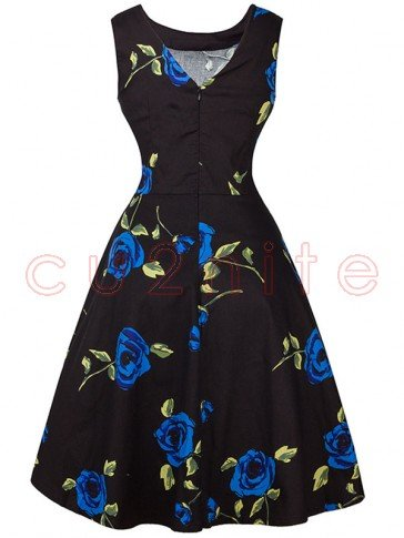 Valentines Vintage Floral Print Sleeveless Rockabilly Cocktail Party Dress