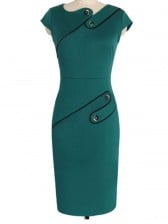 1950's Retro Green Patchwork Rockabilly Party Midi Pencil Dress