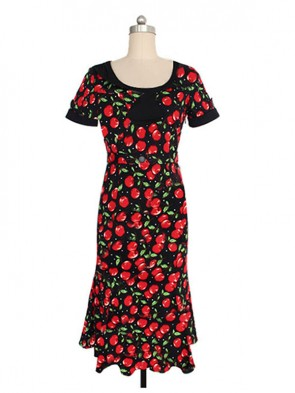 Fashion Short Sleeve Cherry Print Dresses