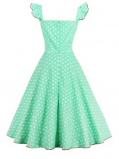 1950s Vintage Sleeveless Polka Dot A line Casual Cocktail Dress Green