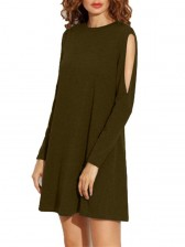 Women's Crew Neck Cut Out Long Sleeve Loose T-shirt Dress Army Green