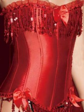 Burlesque Circus Corset with Beaded Fringe - Red