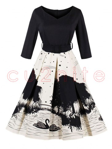 Women's Vintage Black 3/4 Length Sleeves A-Line Floral Print Swing Dress