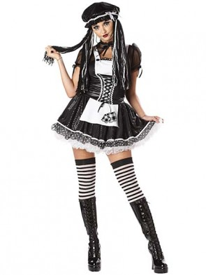 Deluxe Adult Gothic Rag Doll Costume w/ Striped Thigh High