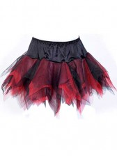 Black Red Layered Mini Tulle Tutu Skirt