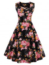 1950's Vintage Black Floral Print Flared Swing Dress
