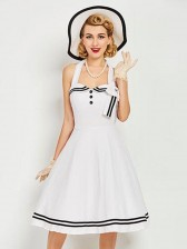 Sexy Women's White Halter Lace Up Vintage Swing Dress