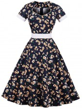 Noble Women's Vintage V-neck Litter Flowers Print Cocktail Party Dress