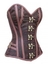 Noble Brown Jacquard Weave Fabric Steel Bone Overbust Corset