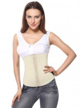 Women's Spiral Steel Boned Apricot Latex Waist Training Cincher Body Shaper Corset