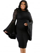 Women's Sexy Flared Long Sleeve Floral Lace Plus Size Bodycon Dresses