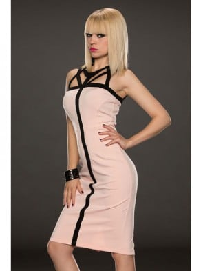 Fashion Pink Back Cross Middle Long Dress
