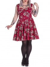 Women's Blackless Sleeveless Floral Skull Print Swing Midi Dress