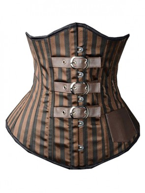 264efd7170 Brown Satin Stripe Busk Closure Steel Bone Steampunk Underbust Corsets ...