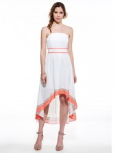 Charming Women'S White Backless High Low Midi Dress