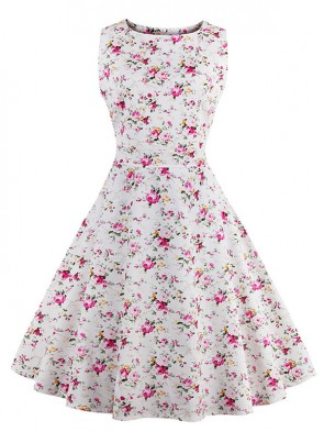 Elegant 1950's Vintage Floral Print Sleeveless Casual Cocktail Party Swing Dress White