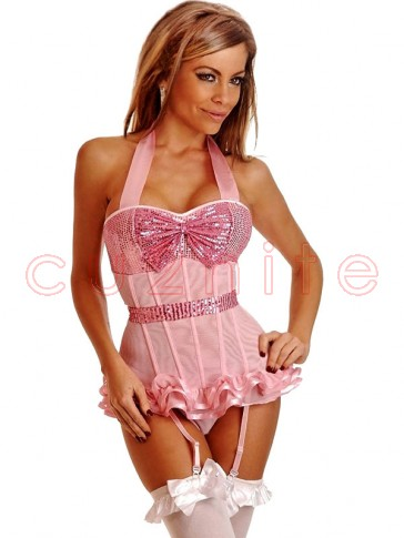 Pink Sequin Halter Top Corset