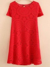 Red Round Neck Short Sleeve Lace Dress