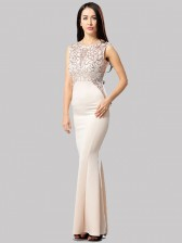 Graceful Champagne Sequined Evening Party Dress
