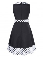 Women's 1960's Vintage Polka Dot Print Turndown Neck Sleeveless Dress Black White