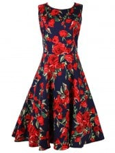 1950's Vintage Retro Rose Floral Print Party Cocktail Tea Dress