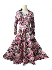 1950's Vintage Floral Print Half Sleeve Casual Swing Dress Multi Color