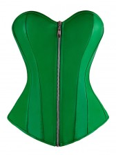 Women's Fashion Green PU Leather Overbust Corset