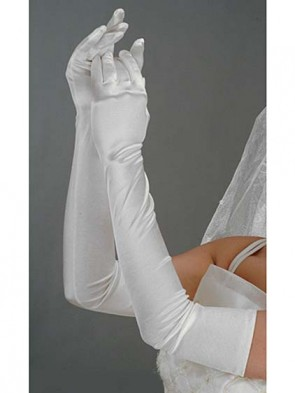 White Satin Opera Gloves