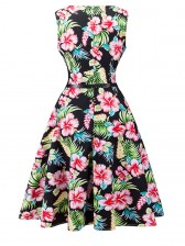 1950's Vintage Floral Print Sleeveless Cocktail Party Swing Dress with Belt Mix