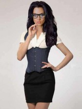 Full Back Waistcoat Style Denim Corset / Sexy Executive Costume