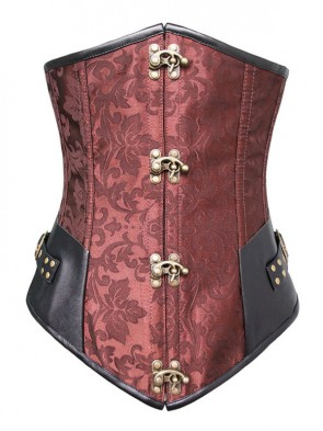 Vintage Brown Steel Bone Jacquard Pattern Busk Closure Underbust Corset