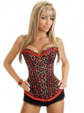 50s 60s Pin-up Burlesque Overbust Corset with Cherry Pattern