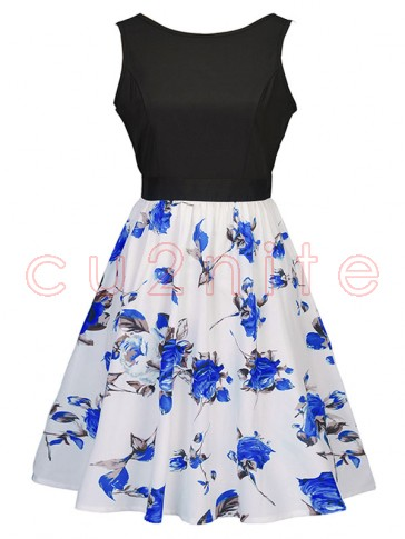 Women's Vintage Sleeveless Floral Swing Dress With Belt Black White