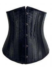 Black Satin Under Bust Corset - 24 Steel Bones