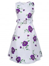 1950's Vintage Floral Print Sleeveless Dress White Purple