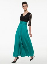 Women's Sexy Lace V Neck Split Party Maxi Dress Green