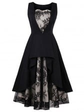 Women's Vintage Sweetheart Neck Sleeveless Black Lace Patchwork Tiered Swing Dress
