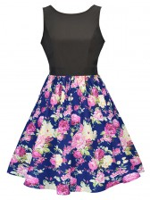 Women's Vintage Sleeveless Floral Swing Dress With Belt Pink