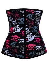 9 Steels Crazy Sexy Skulls Print Waist Training Cincher Halloween Corset